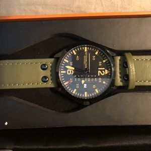 Men's Watch With Green Leather Band